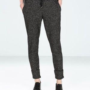 Zara Trafaluc black glitter joggers pants xs